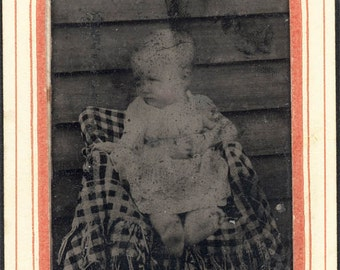 vintage photo Little Baby Girl Rural in Chair Check Dress bare feet tintype