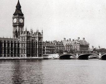 vintage photo 1899 historic Houses of Parliment London England UK