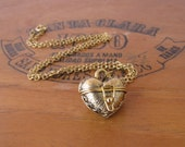 Gold Heart Locket Charm Necklace Vintage Style by Alice Wears Gold
