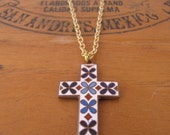 Gold Cross Charm Necklace Vintage by Alice Wears Gold