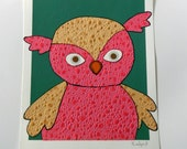 Original Mixed Media Collage Children Room Decoration- Pink Bird