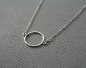 Circle, textured, sterling silver necklace