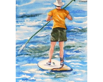 Water Sports Art, Paddle Board, Paddleboard, Stand Up Paddle Boarder, Sports and Art Watercolor Painting, Gift For Sports Enthusiast