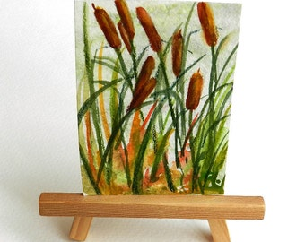 Cattails aceo, Marsh Painting, Friend Gift, Cattail Swamp, Miniature Painting, Optional Easel