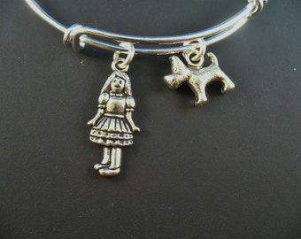 Wizard of Oz Series, Dorothy and Toto,  Stainless Steel Bangle Bracelet, Trendy Style, Gift For Her