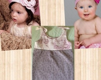 Today's Little Offer! Empire Waist Baby Girl Dress 3-6 Month, Country Rose Beanie 3-6 Month, and Dark Linen Beanie 3-6 Month Cotton