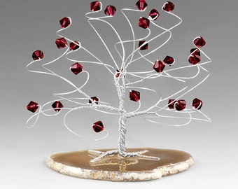 January Birthstone Gift - Garnet Swarovski Crystal Elements Silver Sculpture