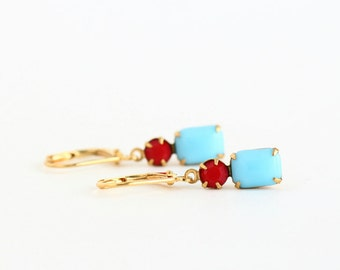 Turquoise and Red Earrings, Vintage Jewels, Jewel Earrings, Drop Earrings, Cyan Earrings, Glass Earrings, Gift For Woman, Mothers Day Gift