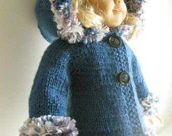 HOODED JACKET American Girl 18 inch doll BEGINNER  level Knitting pattern with clips (52)