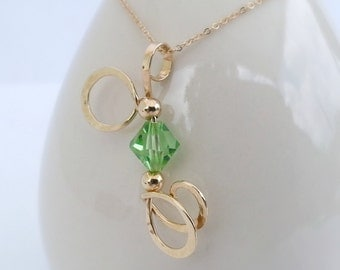 Curly Pendant Gold Filled Peridot Crystal Curly Metalwork Pendant Necklace August Birthstone