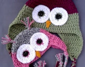 Owl Hat beanie w/ear flaps (sizes Newborn - Toddler/PreK)