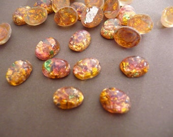 12 Oval Cabochons Rhinestones - Antique Harlequin Opal - 8x6mm