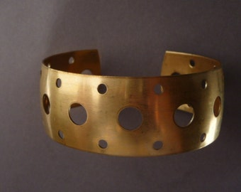 Brass Cuff Bracelet with Holes