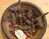Cats, Bats and Crow Primitive Halloween Bowl Filler Ornaments