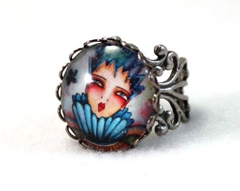 Antique Silver Ring, Storybook Queen Adjustable Ring, Bronze Victorian Filigree Cocktail Ring Jewelry, Blue Pink, Teen Woman Friend Gift
