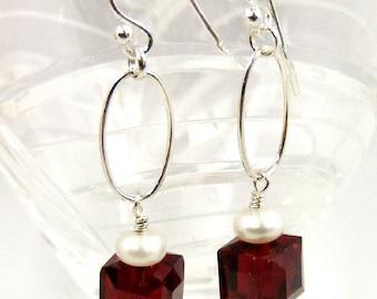 Ruby Red Earrigs, Crystal Earrings, Pearl Earrings, Sterling Silver Dangle Earrings
