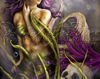 Within the Deep... Mermaid Art Print...Underwater Mermaid with Seaweed and Skull... Mermaid Pictures