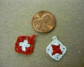 2 Miniature Potholders Red and White Hand Crocheted Pot holders 1-12 scale for dollhouse printers drawers  scrapbooking dollhouse kitchens