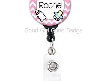 Personalized Badge Reel - NICU Nurse Chevron - Choice of Colors - Badge Holder