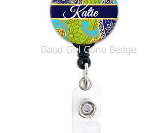 Retractable Badge Holder - Gorgeous Paisley - Choice of Colors - Personalized Name Badge Reel