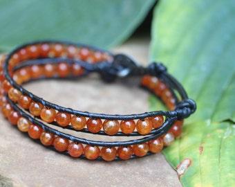 Carnelian Agate Leather Wrap Bracelet