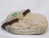 Wood bead bracelet, hippie chic bracelet, bohemian jewelry, yoga fashion, green emerald bracelet set, bracelet set, stackable bracelet set
