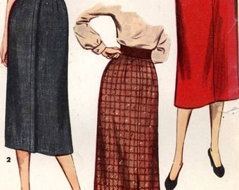 50s Pencil skirt slim skirt vintage sewing pattern Rockabilly style midcentury style Simplicity 4491 Waist 24 UNCUT