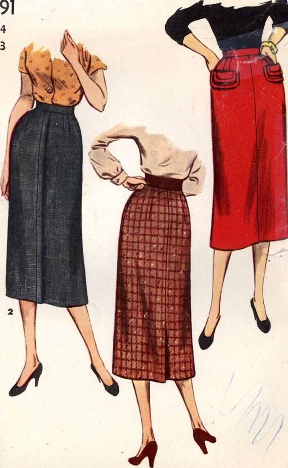 50s pencil skirt slim skirt vintage sewing pattern rockabilly