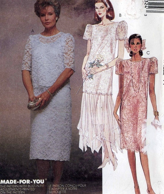 80s dress pattern Dropped waist dress Bride and Mother by HeyChica