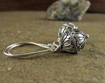 925 Silver Earrings, Bali Bead Earrings, Sterling Silver Balinese Handmade Bead Dangle Earrings Rustic Earrings Sterling Earrings