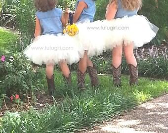 Flower Girl Tutu Skirt, Ivory Rustic Tutu, Cream Tulle Skirt