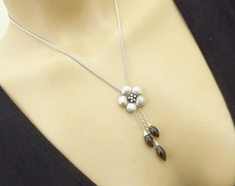 Blossom Karen Silver Pendant-Smokey Smoky Quartz Puff Marquise Cascade-Sterling Silver Necklace