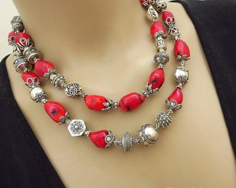 SALE-Bold-Bamboo Coral-Balinese Handmade Silver-2 Strand Necklace