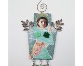 """Mixed Media Paper Collage Angel Art to Hang Romantic Roses and Butterfly #18, Mother""""s Day Gift"""