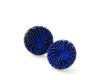 Cobalt Blue Earrings, Fireworks Stud Earrings, Blue Stud Earrings, Glass Post Earrings, Art Deco Earrings, Electric Blue, Elegant Studs