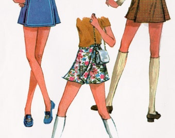 1960s Scooter Skirt McCalls 2253 Vintage 60s MADMEN Sewing Pattern Size Waist 29 Hip 40 UNCUT
