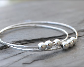 Three Sterling Beads Hawaiian Bangle. Mother Daughter Bangle Bracelet. Simple Stacking Bangle. Sterling Silver