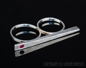 Double Band Chopstick Ring in Silver with a pink Garnet, forged, wedge, two band, birthstone