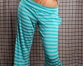 Capri Yoga Pants, soft teal cotton pants, lounge pants, aqua blue stripe pants, Small comfortable pants