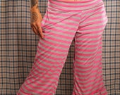 SALE. Stripe Yoga Pants, Pink and Grey Stripe pants, comfy lounge pants, Loose fit, wide leg. Small comfortable pants, festival fashion