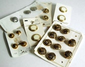 Vintage Metal / Metallic Buttons Brass, Shank, Gold Tone, Silver, Lot of 23 Craft Sewing Supplies