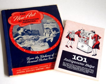1940s Advertising Booklets Vintage Cookbooks New Art of Simplified Cook, 101 Refrigerator Helps Retro Ephemera Home Ec Kitchen