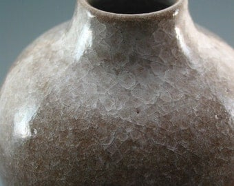 Vase, iron rich stoneware with snowflake crackle glaze
