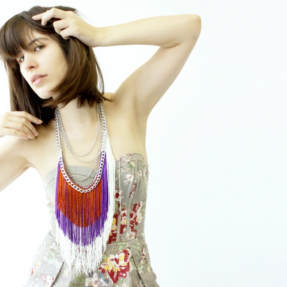 Fringe and Chain Necklace - White, Grape, Cinnamon