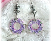 Hand Painted Purple Rose Enamel Dyed Pink Shell Earrings Silver Round Fleur de lis Floral Shabby Chic Hoops