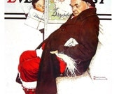 Santa on a Subway Train, Christmas - Norman Rockwell Art - Saturday Evening Post Cover - 2 Sided 1989 Vintage Book Page - 10 x 12