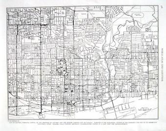 Toronto Canada Map - 1944 Vintage Book Page from World Atlas 11 x 14