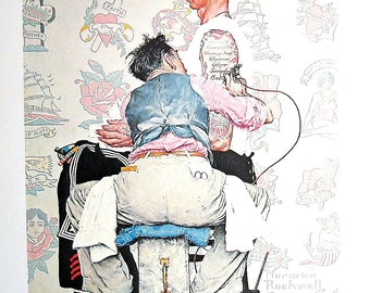 The Tattoist - Vintage Book Page - 1976 Norman Rockwell Print
