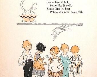 Pease Porridge Hot, I Saw Three Ships - Nursery Rhyme Print - 1922 Nursery Rhyme Book Page