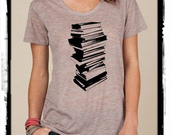 Stack of Books Reading boho slouchy t shirt Alternative Apparel KIMBER tee tshirt vintage style screenprint ladies scoop top